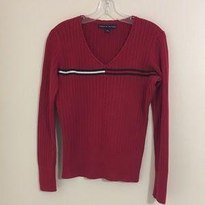 Tommy Hilfiger Medium Red V-Neck Sweater